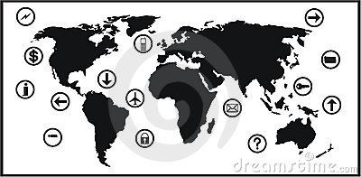 World map and icon set