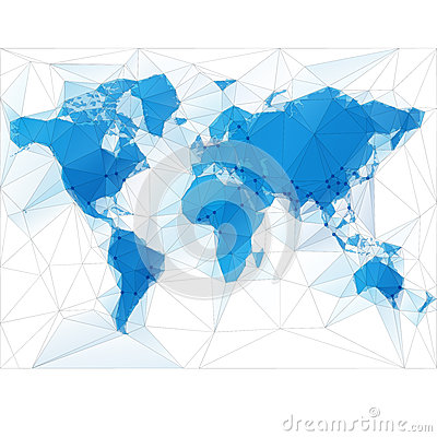 World Map Illustration with largest cities Vector Illustration