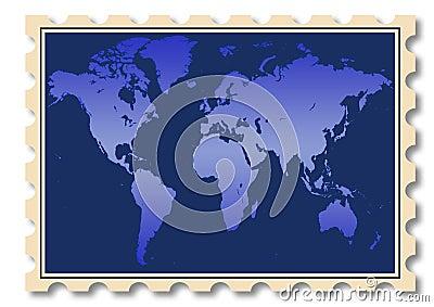 World map illustration on stamp