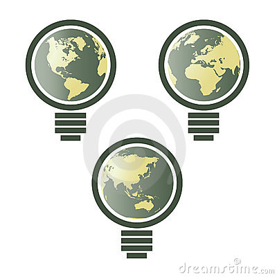 World map in light bulb