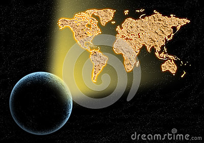 World map light from the earth