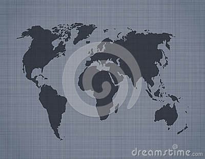 World map on linen background
