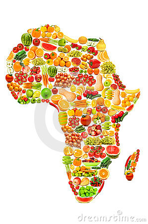 World map made of   fruits and vegetables