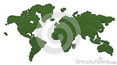 World map made of green grass