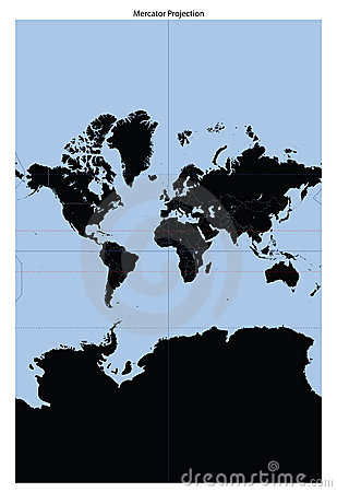 World map (Mercator Projection)