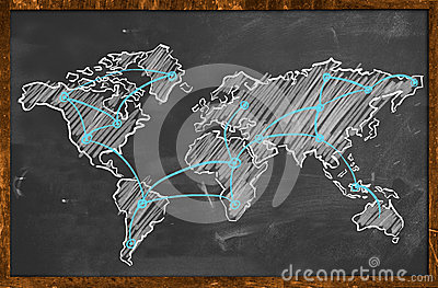 World map networking blue chalk