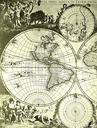 Free World Map, Old Antique Stock Image - 7048751