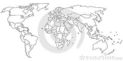 World map outline Vector Illustration