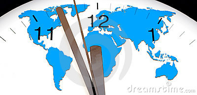 World map over wall clock Stock Photo