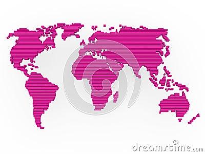 World map pink purple