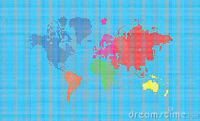 World map of pixel squares