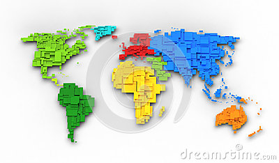 World map of rainbow colors