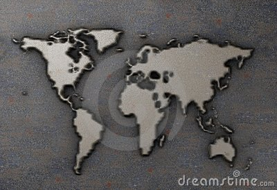 World map on rusty metal plate