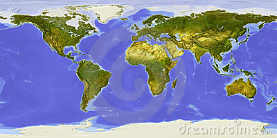 World map, shaded relief, centered on Africa