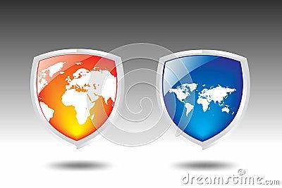 World map Shield vector