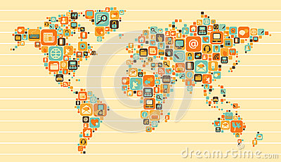 World Map: social and media icons