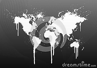 World map splatter
