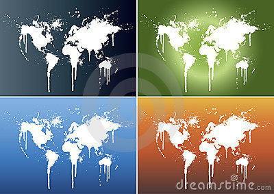 World map splatter backgrounds