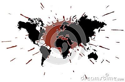 World map with splatter illustration