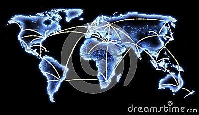 World Map Telecommunications Internet Network