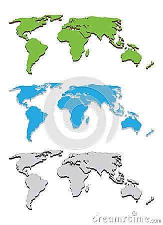 World map 3d vector template