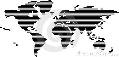 World map in vector format - black and white