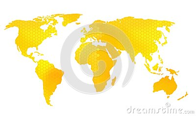 World map vector illustration, honeycomb pattern