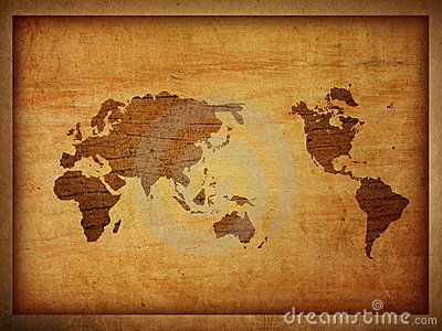 World map vintage artwork