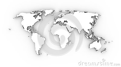 World map white 3D