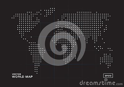 World map white dots with black background Vector Illustration