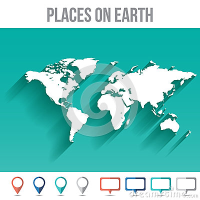 Free World Map With Pins, Flat Design Vector Royalty Free Stock Photos - 49988488