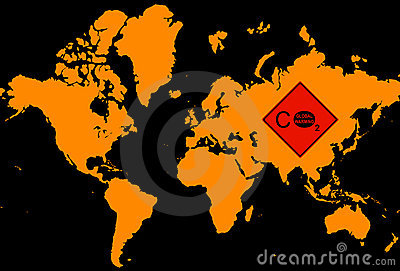 World map withglobal warming logo
