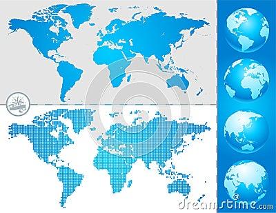 World maps and globe