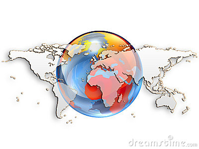 World Maps on White Background