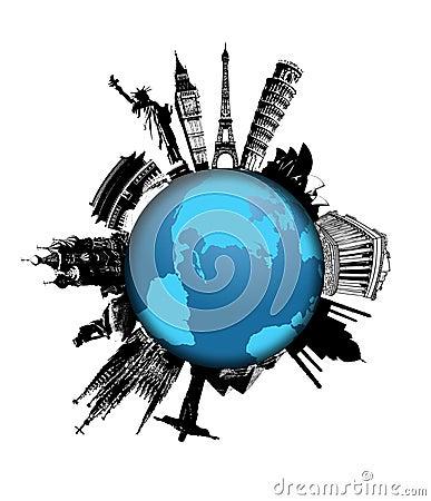 World monuments on globe