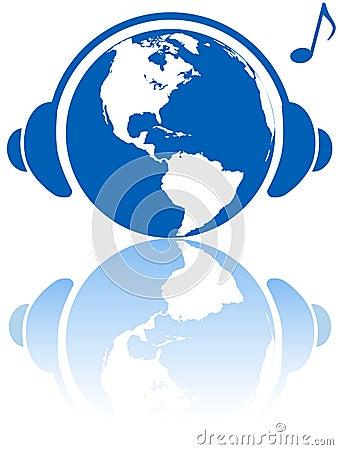 World music headphones on earth