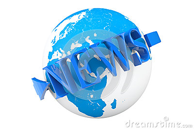 World News Concept. Earth Globe with word News