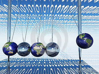 World Newtons Cradle With Binary