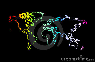 World in rainbow colors on black background