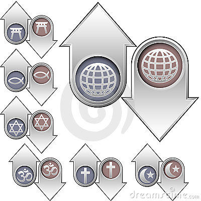 World religion symbols on up and down arrows