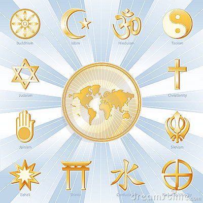 Free World Religions, Many Faiths, Blue And Gold Stock Images - 5811634