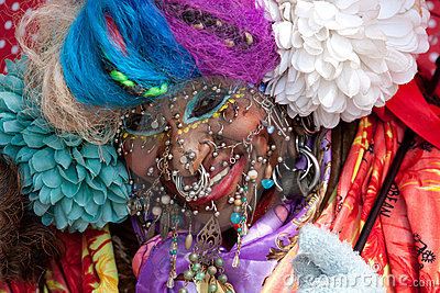 World s most pierced woman Editorial Image
