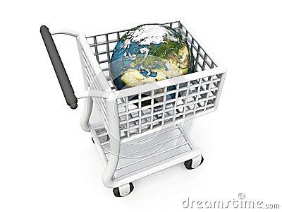 World in shopping trolley