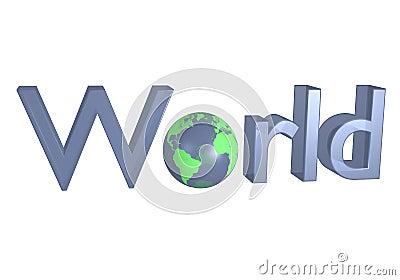 World sign with earth like globe