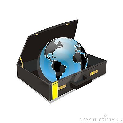 World in suitcase