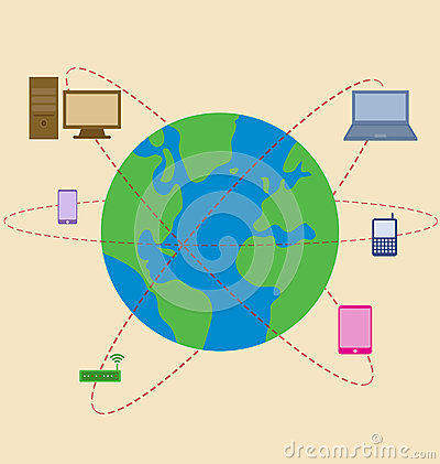 World is surrounded by mobile technology Vector Illustration