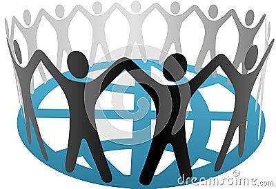 World Symbol People Hold Hands on Globe