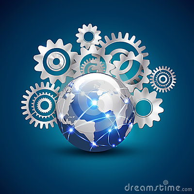 World technology and communication with gears background concept, vector & illustration