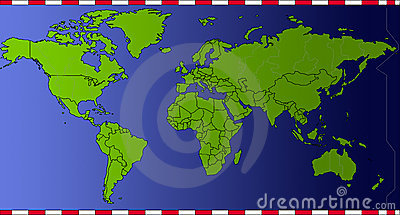 World time map green countries