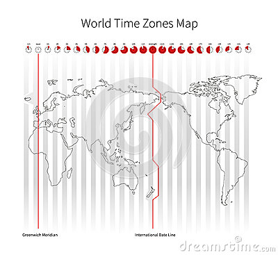 Free World Time Zones Map Royalty Free Stock Photos - 57530038